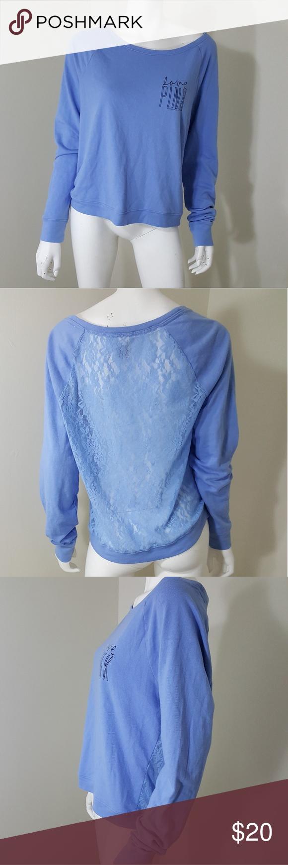 Victoria's Secret Pink Light Blue Lace Sweater M