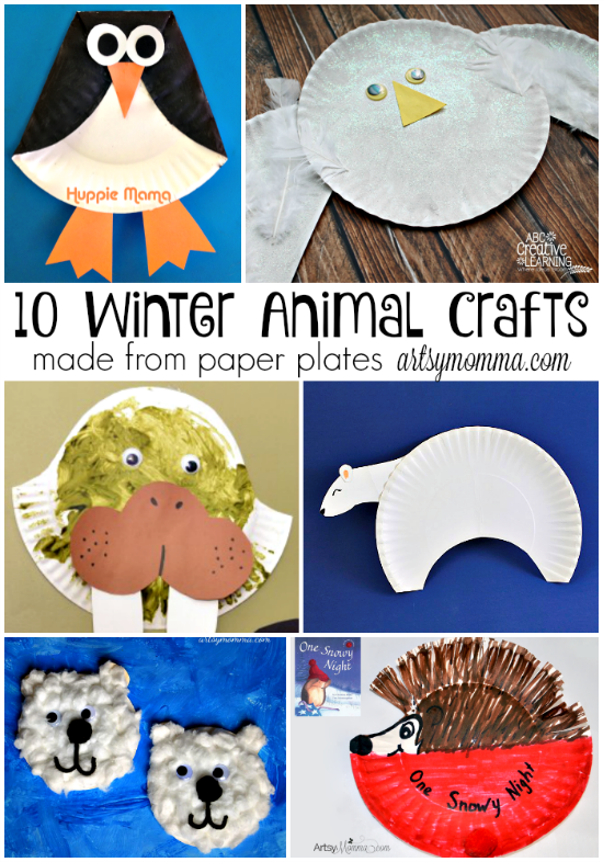 10 Winter Animal Crafts Made From Paper Plates Winter Pinterest