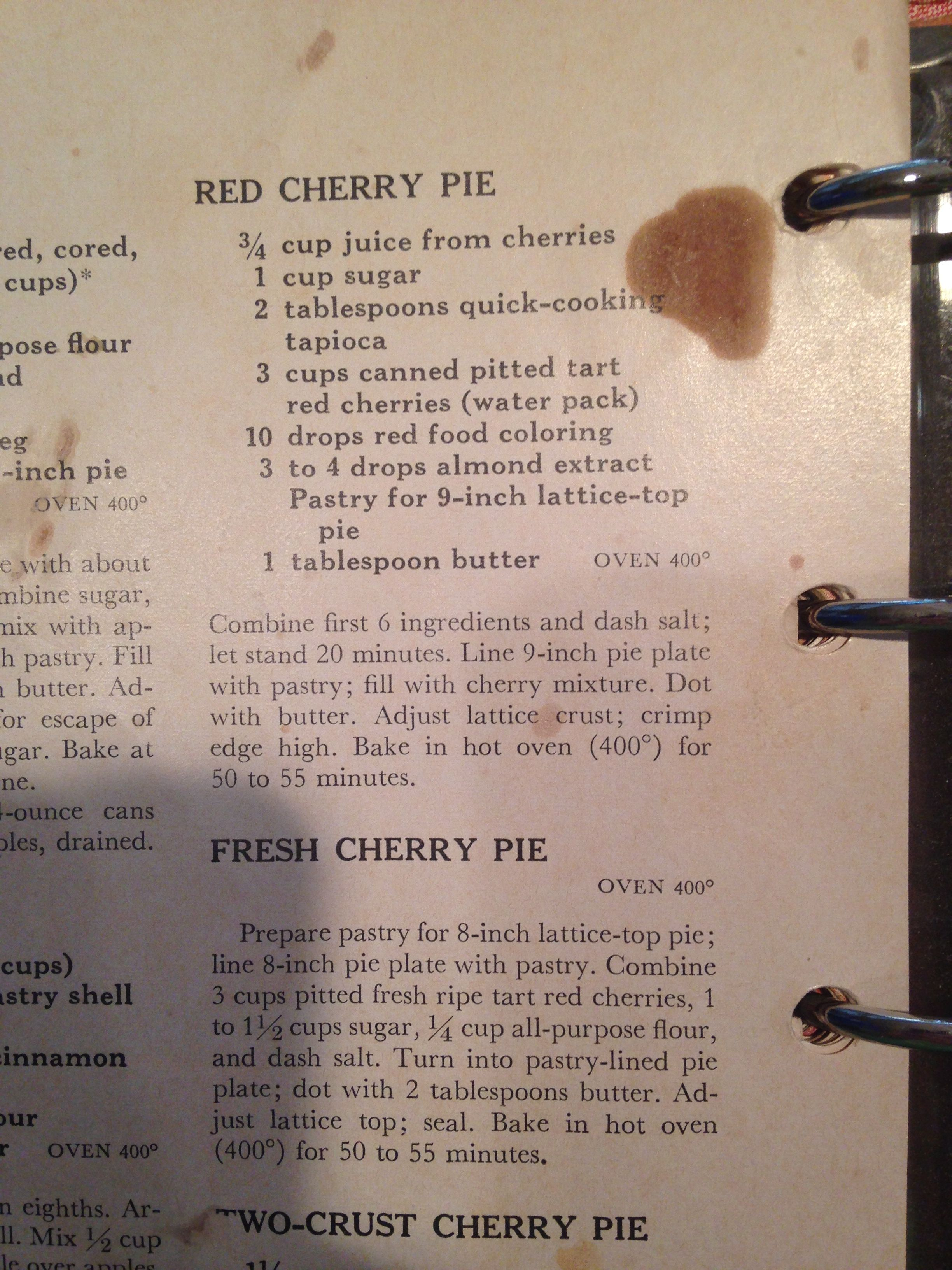 Pin By Stephanie Reed On Dessert Red Food Coloring Quick Cooking Cherry Pie