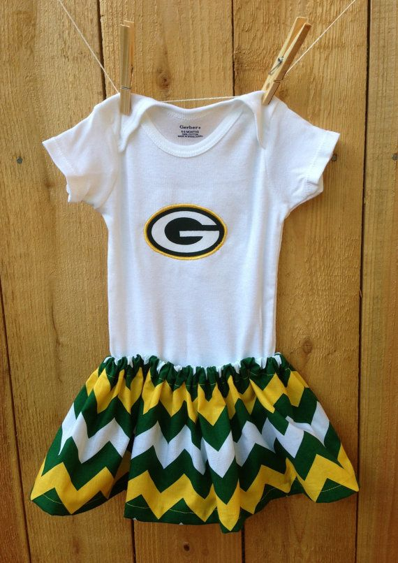 0f42abb5 Green Bay Packer Baby Onesie and Skirt Outfit, Green, White, Yellow ...
