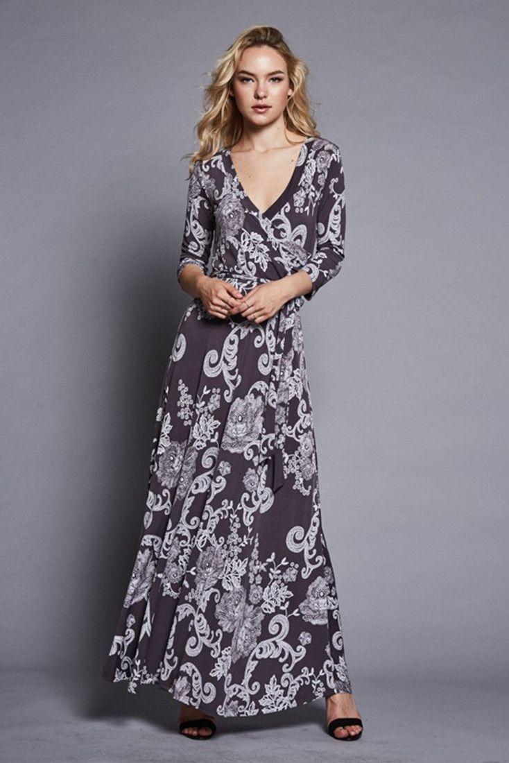 sleeve dark grey damask bohemian maxi dress dark grey maxi