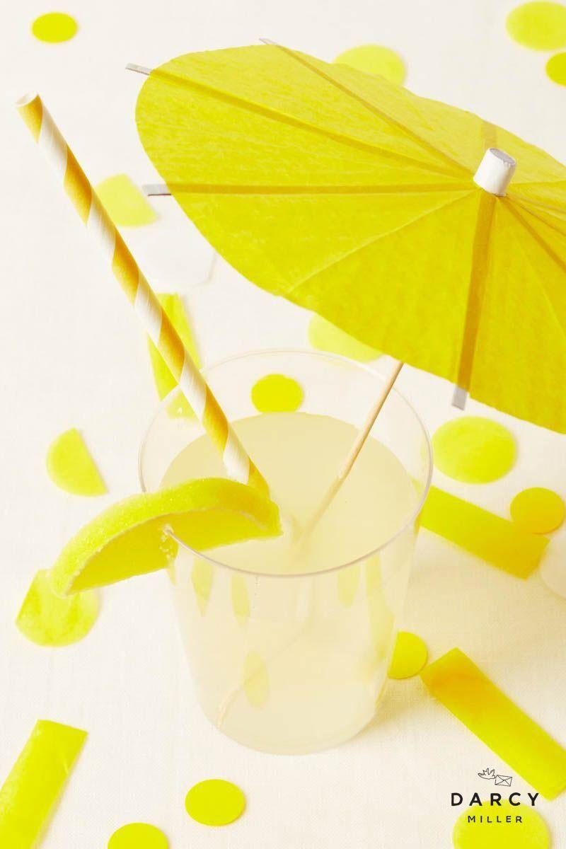 Lemonade party drink idea | Darcy Miller Designs #make #DIY #yellow #citrus #theme #sweet #fresh #mocktail #fun #kids #summer #bbq #party #entertaining #celebrate #umbrella #straw #candy #easy #decoration