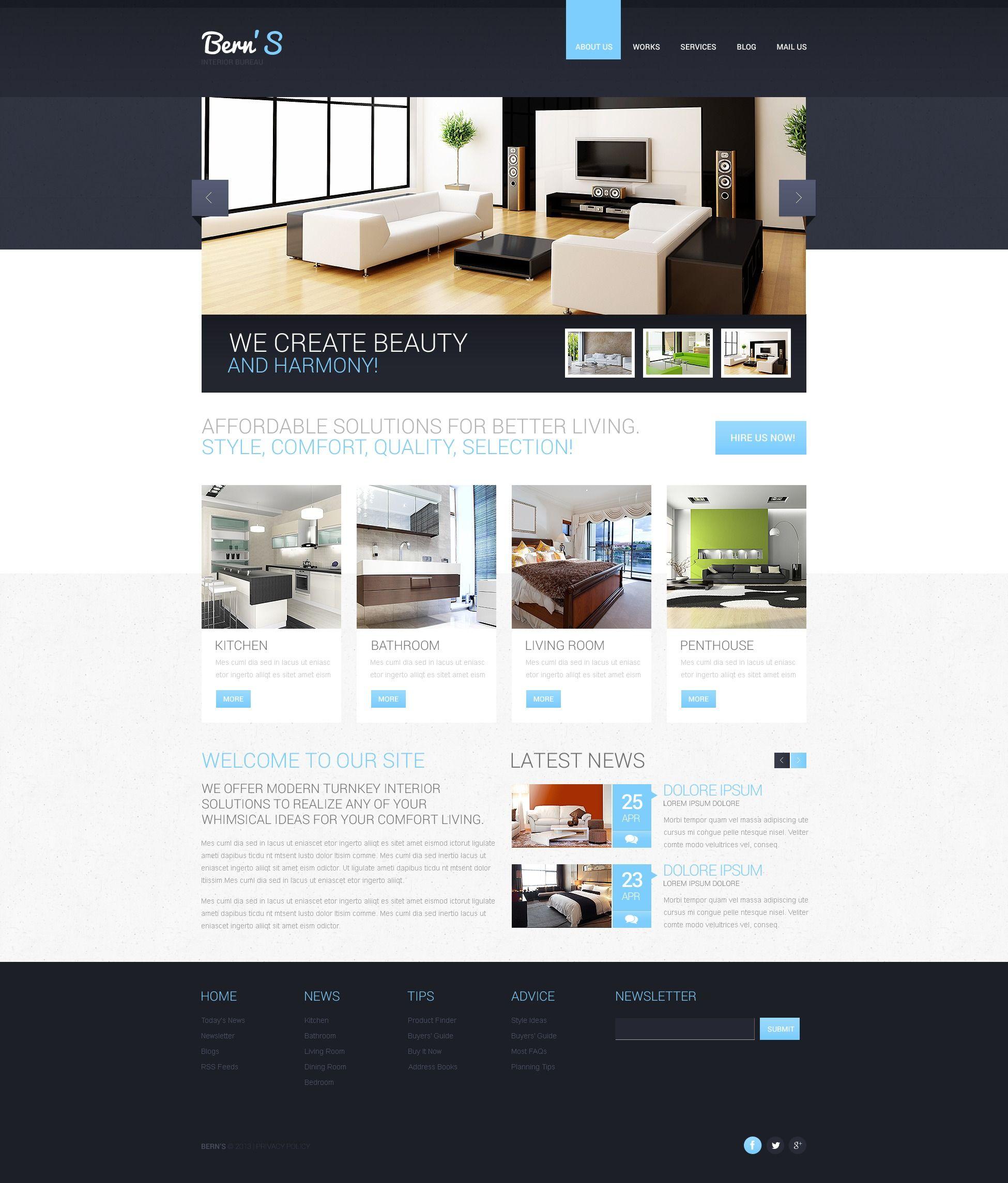 Interior Design Responsive Website Template #44659 | Website ...