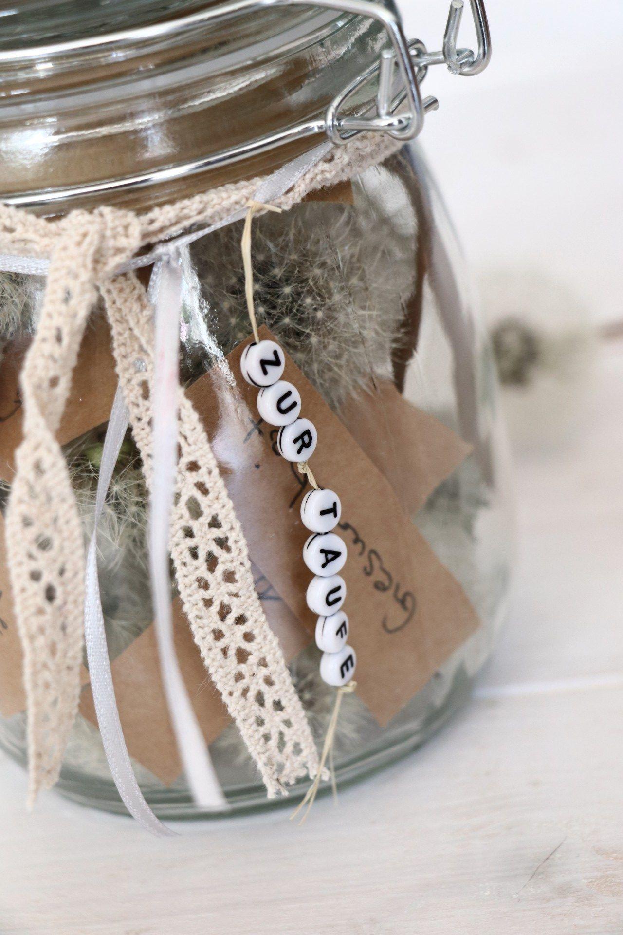 Persönliches Geschenk Zur Taufe Pusteblumen Im Glas