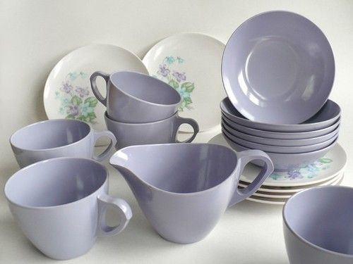 Violet Melmac tea cups and purple flower plates
