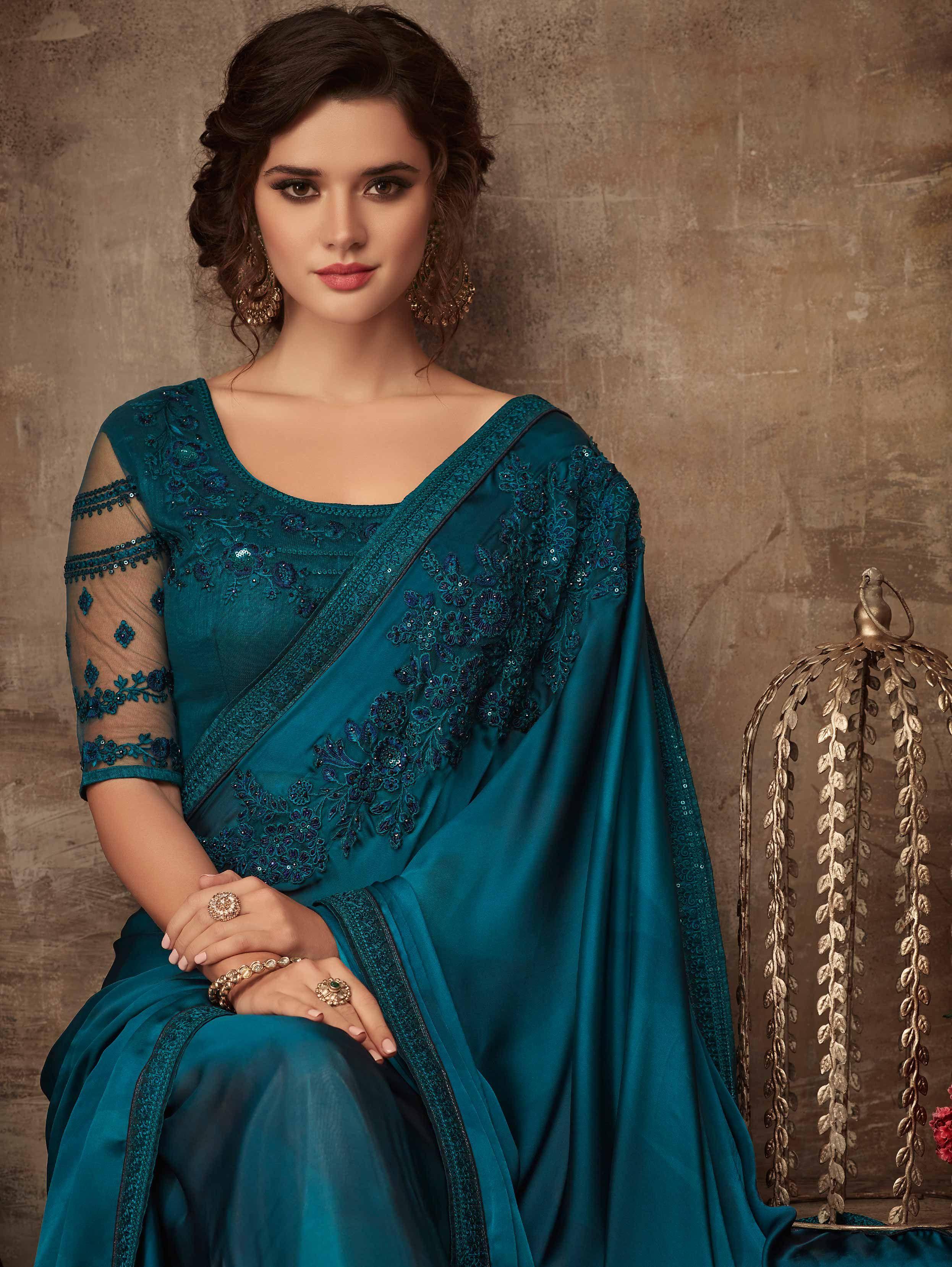 Dark Teal Blue Designer Silk Saree With Embroidered Border Silk Saree Blouse Designs Patterns Designer Silk Sarees Stylish Dress Designs
