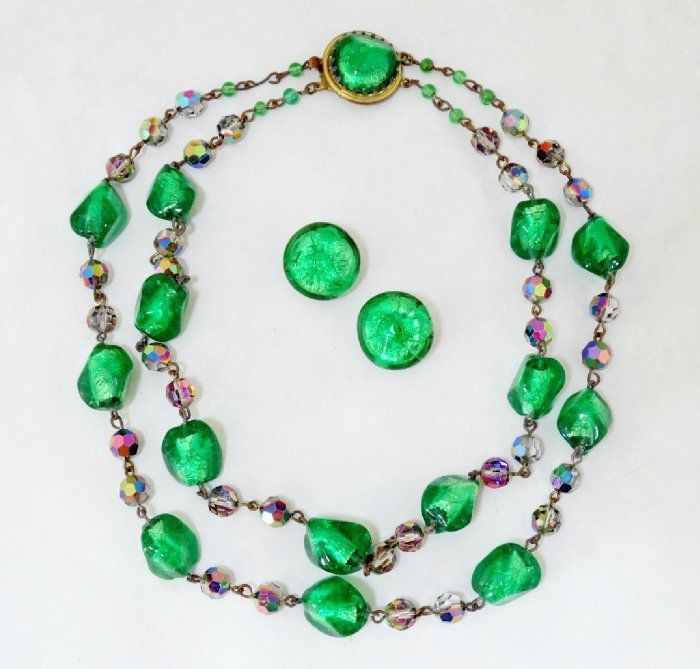 Vintage French Louis Rousselet Foil Glass Crystal Necklace Earrings Demi Parure #RousseletMadeinFrance