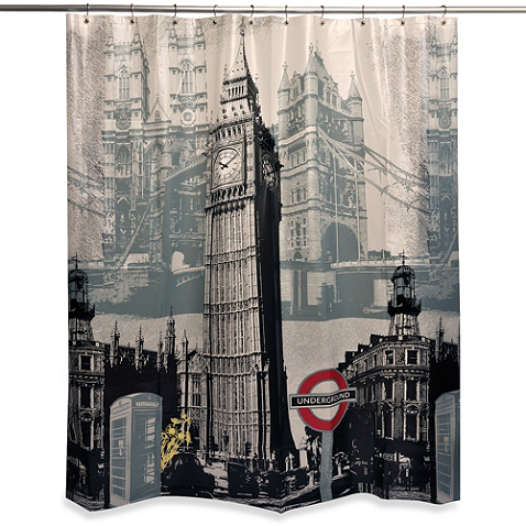 London Sights 70 Inch X 72 Inch Shower Curtain Curtains Vinyl Shower Curtains London