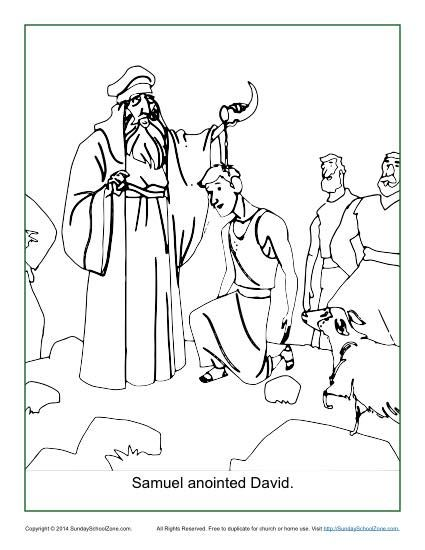 Samuel Anointed David Coloring Page Bible Activities Sunday