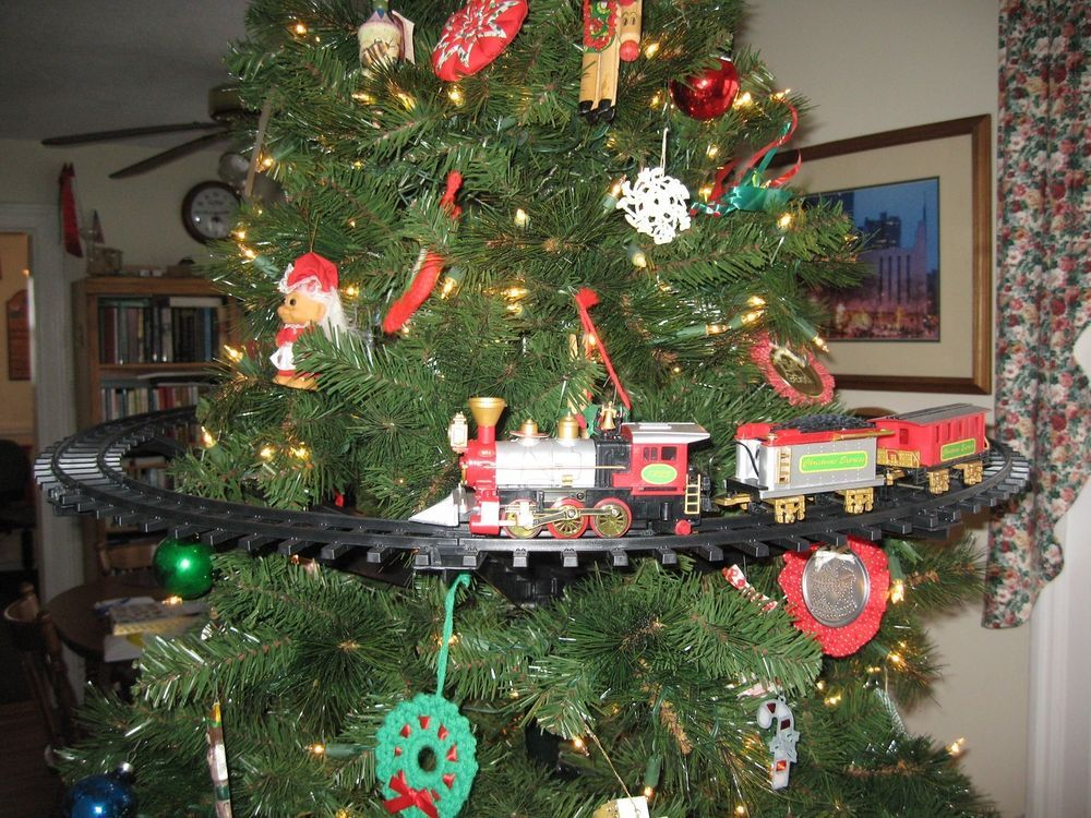 Light Sounds Animated Christmas Train Set Holiday Decoration Mounts In Tree Christmas Tree Train Christmas Tree Train Set Holiday Decor