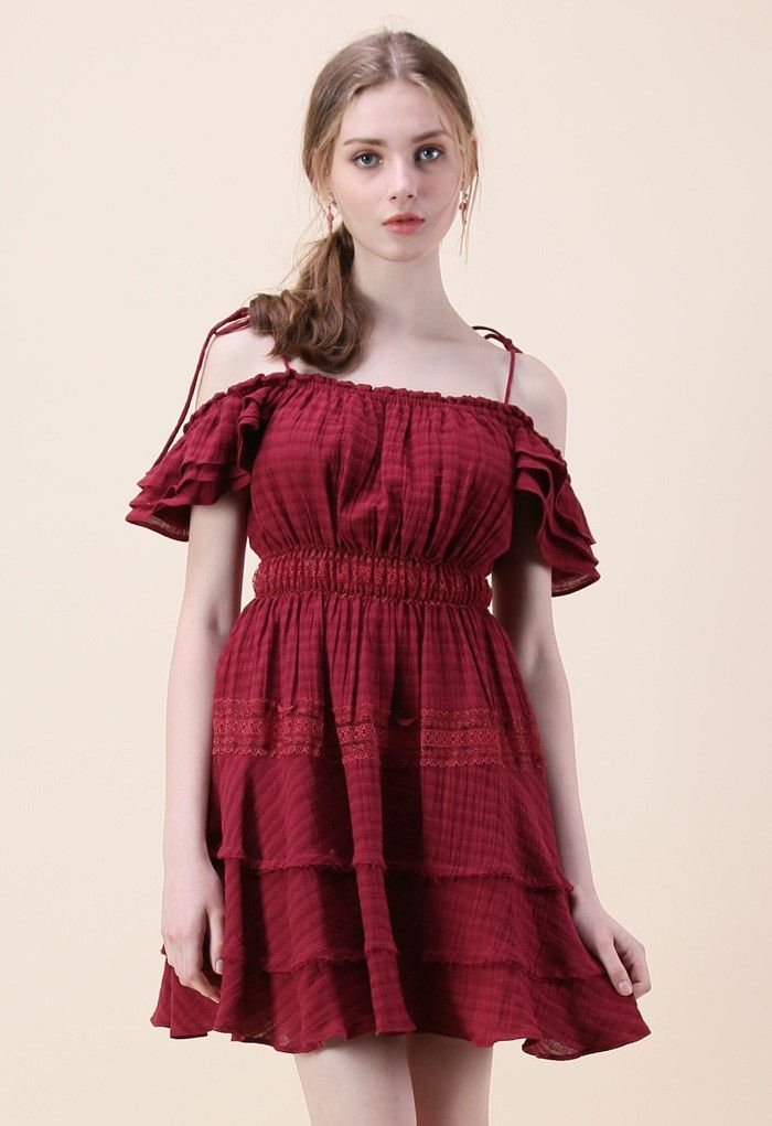 212bc359a7bb Fine wine has nothing on you in this marsala-hued off-shoulder dress. Bows