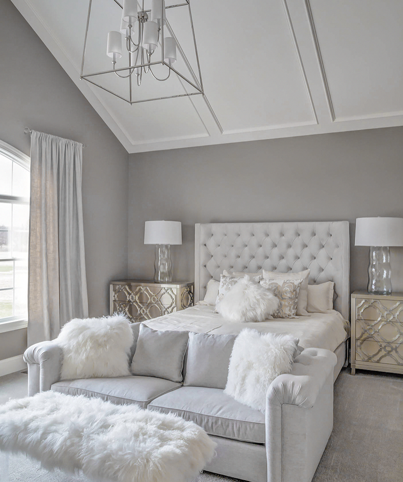 Stunning All White Glam Bedroom Decor With White Velvet Tufted Bed And Sheepskin Bench In 2020 White Bedroom Decor Glam Bedroom Elegant Bedroom