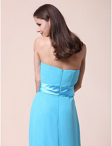 A-line Strapless Sweetheart Floor-length Chiffon Bridesmaid Dress - USD $ 99.99 - Free shipping for all
