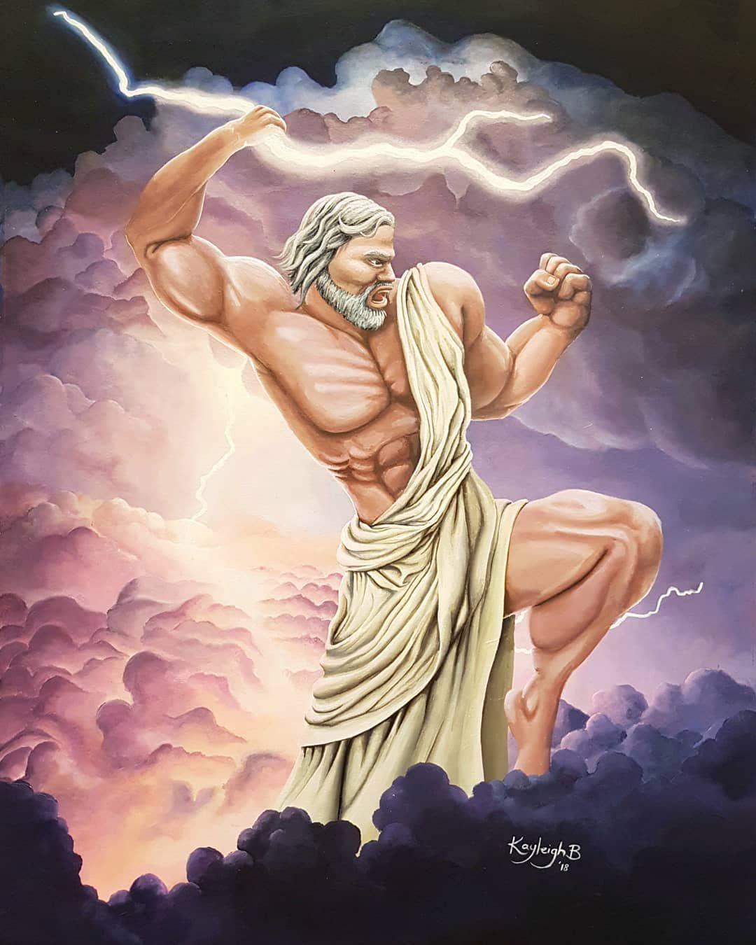 Acrylic painting. Zeus, mythology greek god, Lord of ...