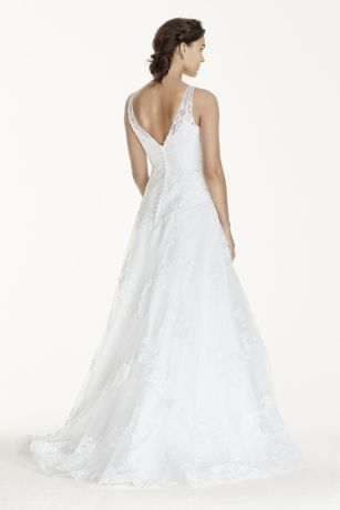 Jewel Tank Tulle Wedding Dress With Lace Applique Style Wg3753