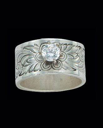 Montana Silversmiths Wild Rose Silver Solitaire Ring Rings