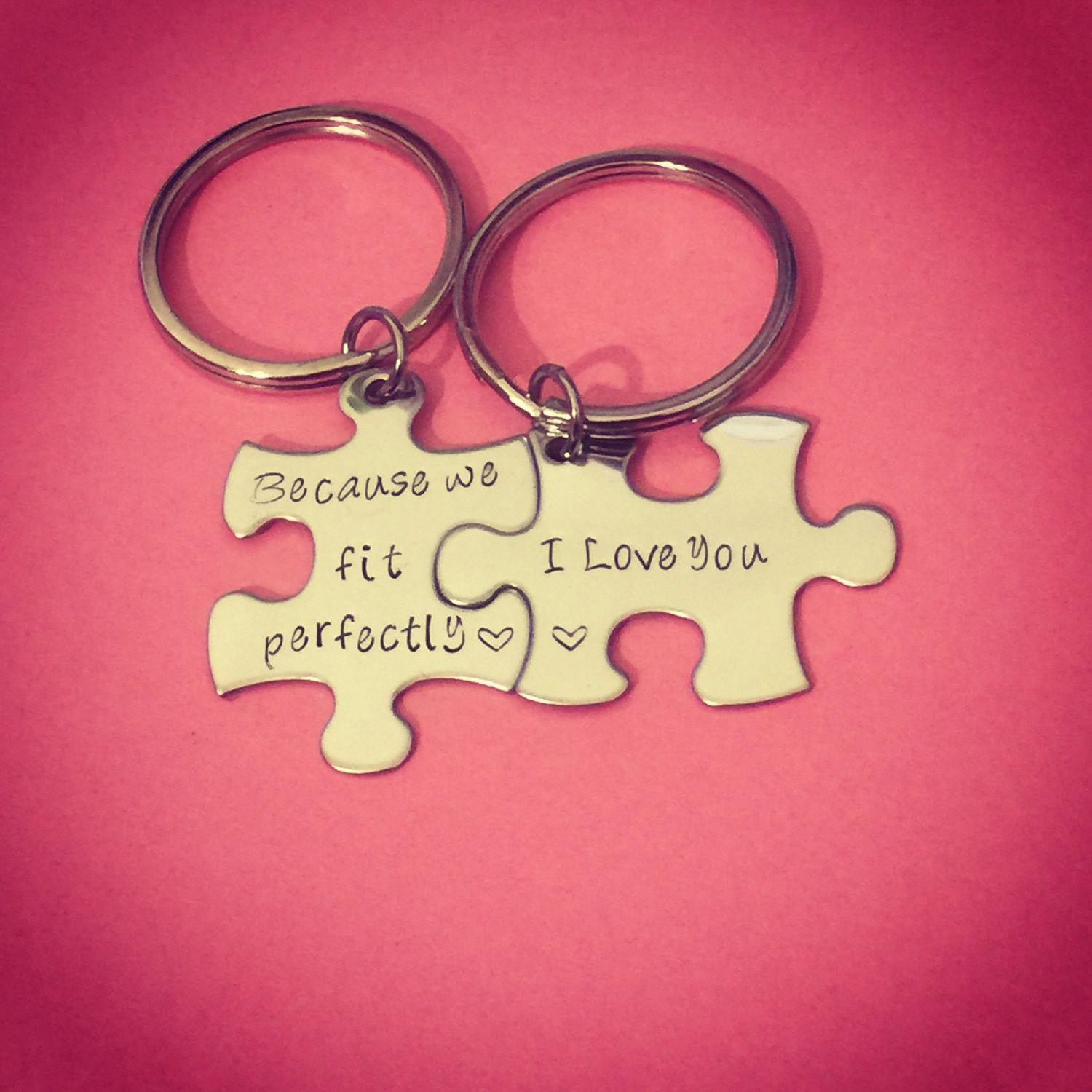 Because we fit perfectly i love you, Couples Keychains, Couples Gift ...