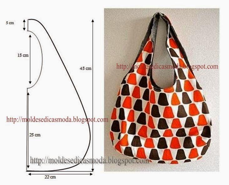 Bolsa De Tecido E Jeans : Bolsa simples de tecido estampado molde com medidas bag