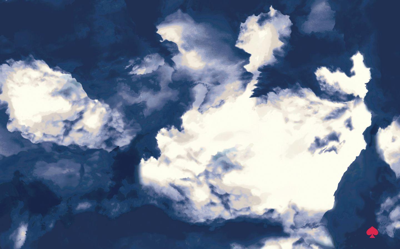 Navy blue white clouds Kate Spade desktop wallpaper