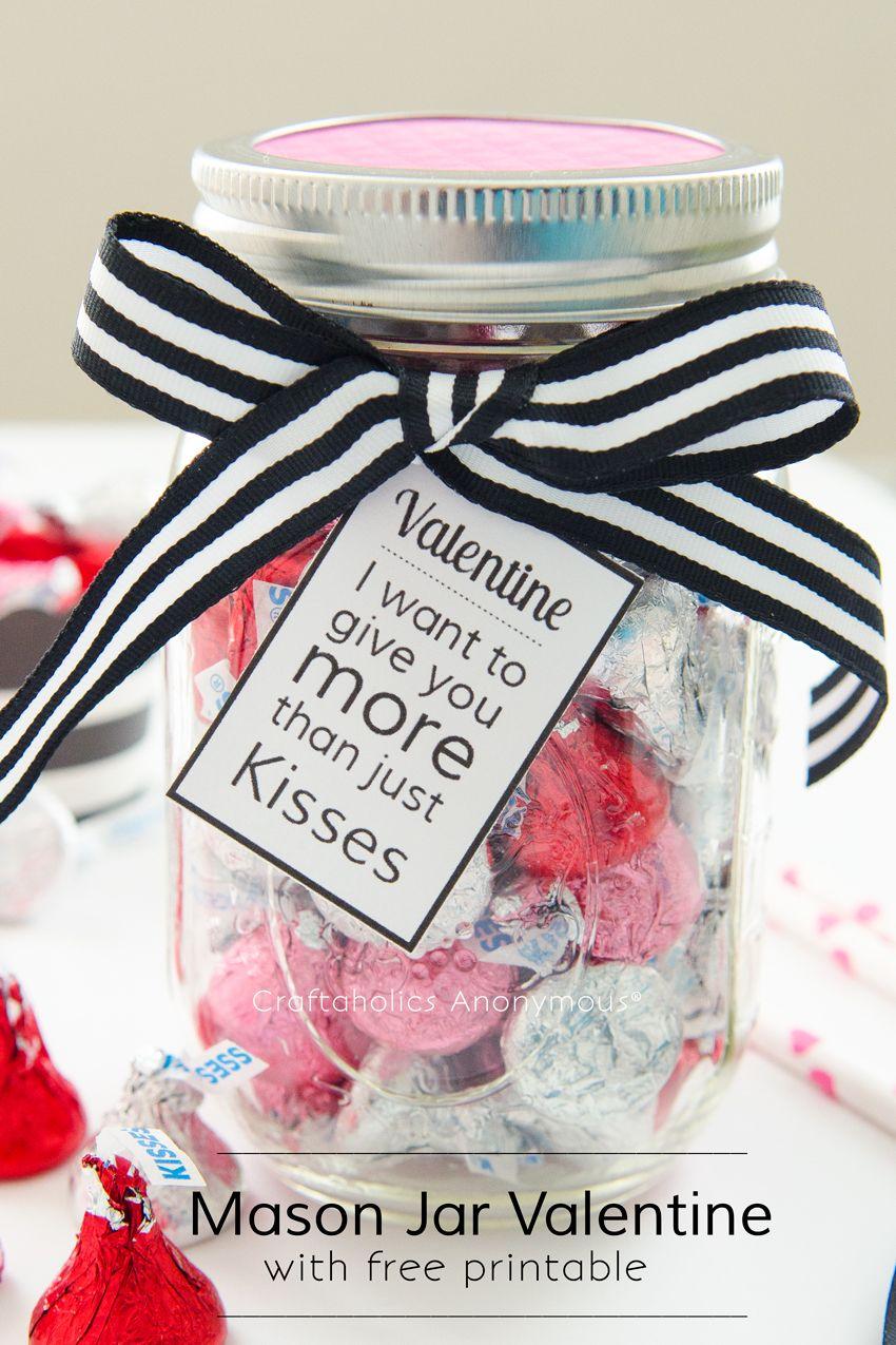 Mason Jar Valentine with Free Printable | Printable tags, Free ...