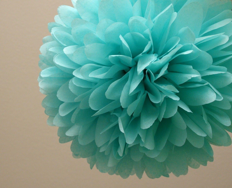 Aqua Tissue Paper Pom .. Wedding Decor / Bridal Shower / Baby Shower / Tiffany Blue / Party Decoration. $4.00, via Etsy.