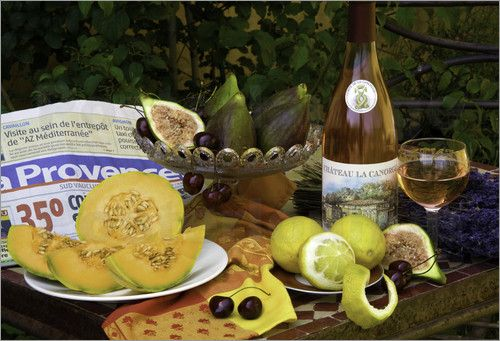 Barbara Van Zanten - Still life of bottle of rose wine from chateau La Canorgue, Bonnieux;  Cavaillon melon; figs; lavend