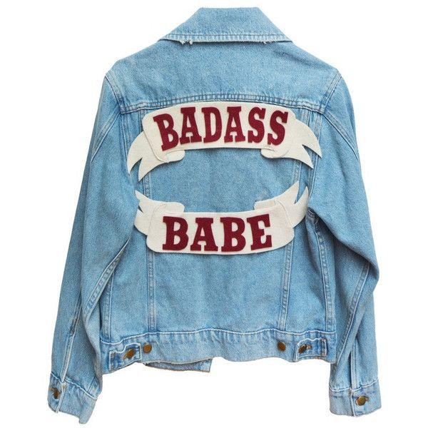 Badass Babe Denim Jacket (£120) ❤ liked on Polyvore featuring outerwear, jackets, tops, denim jackets, denim jacket, jean jacket, blue denim jacket, cotton jean jacket and blue jackets