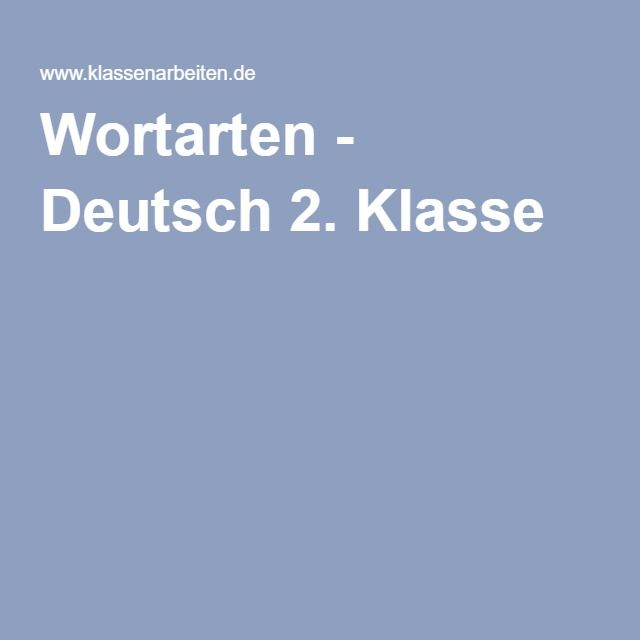 Wortarten - Deutsch 2. Klasse | minen german | Pinterest | Wortarten ...