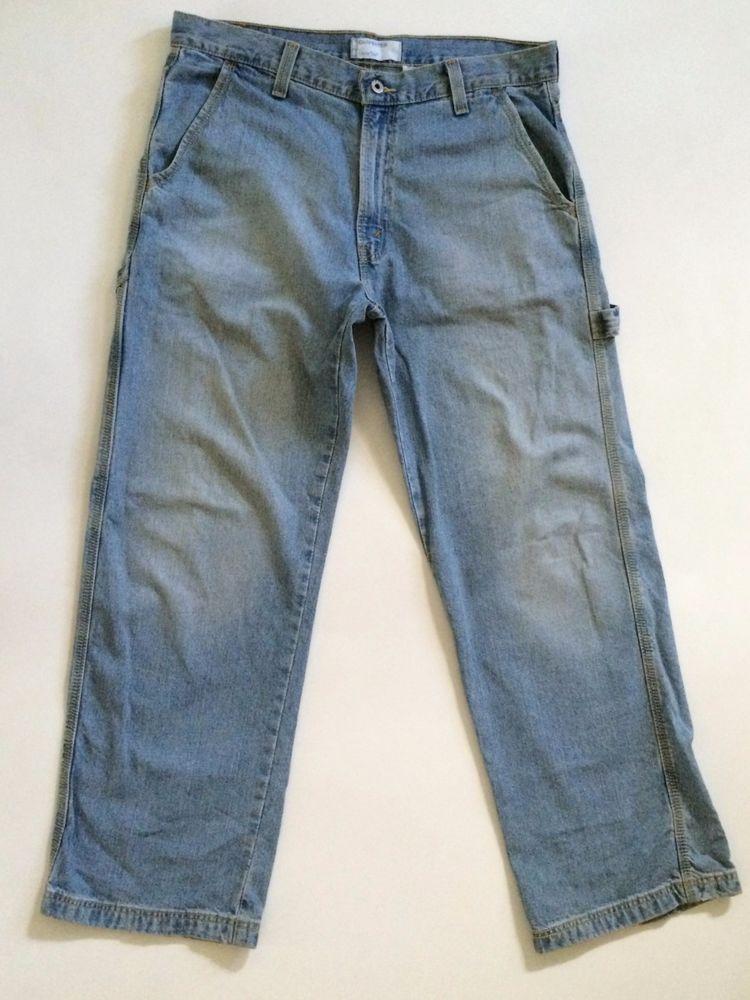Levis SilverTab Mens Carpenter Jeans Size W34 L30 Light Blue Summer Denim Loose #SilverTab #Carpenter