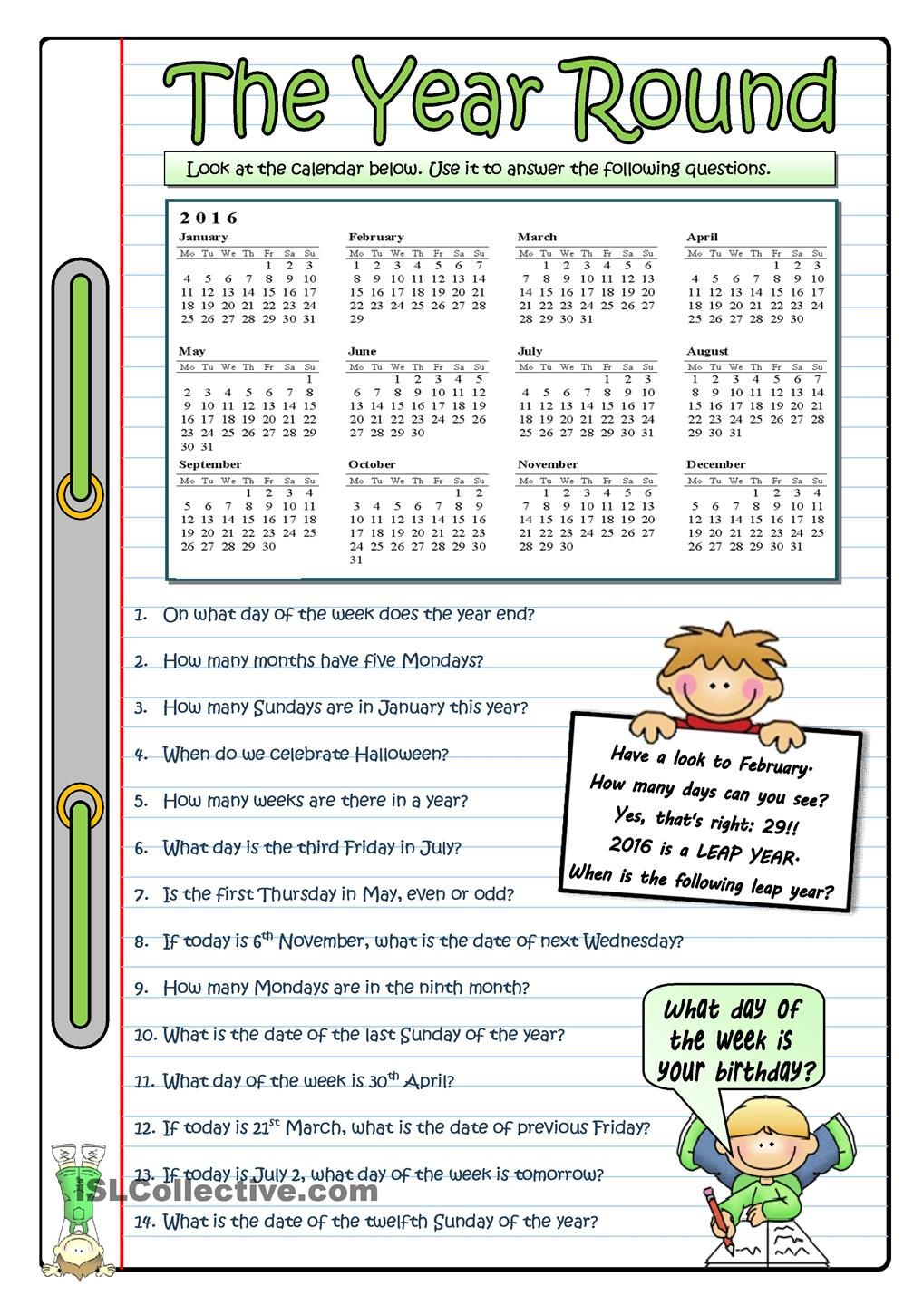 Calendar Activities Esl : The year round esl worksheets of day