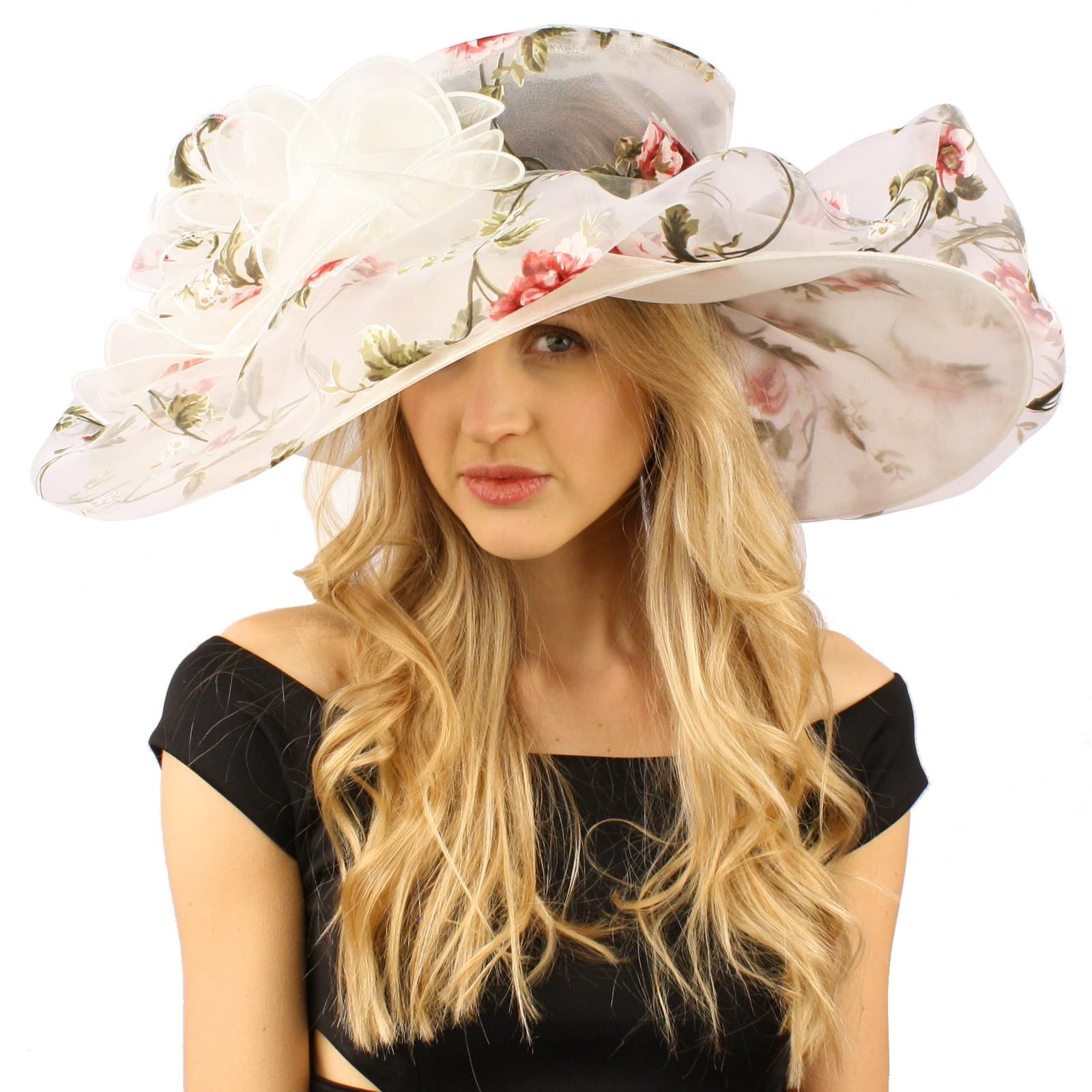 039937e5fe8 Innocent Victorian Flower Print Overlay Kentucky Derby Floppy Brim 8 ...