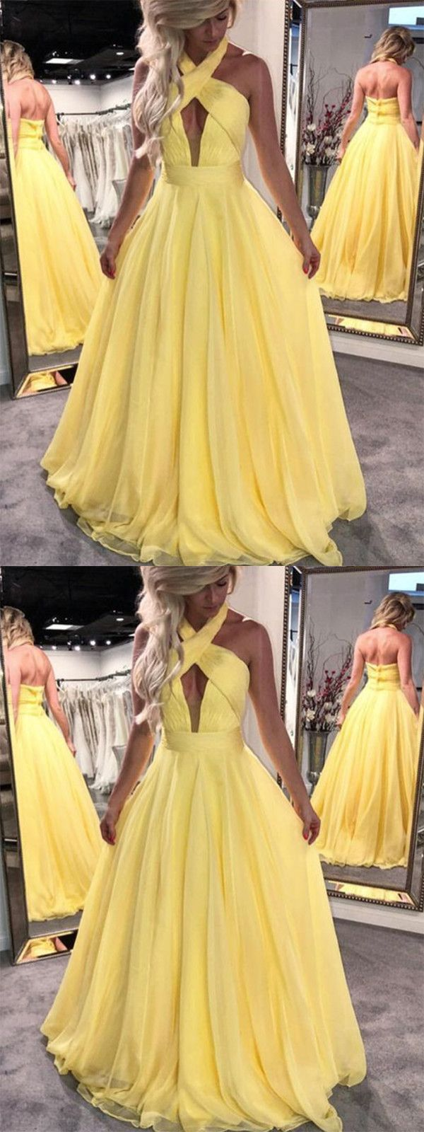Chic a line prom dress simple modest elegant yellow long cheap