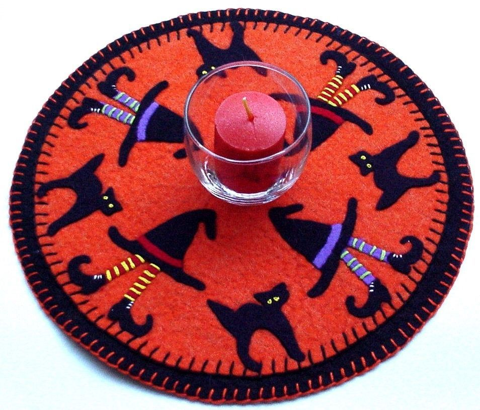 """penny rug style wool felt """"CATS-N-HATS"""" candle mat pattern #millersburgcountrystitchery"""