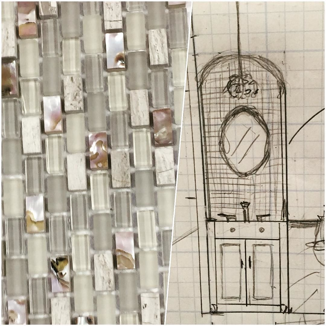 Tile & concept sketch for this bathroom renovation! One - two- three demo....#palmbeachgardens #bathroommakeover #customlook #glassandstone #interiordesign #valeriesdesigns #southfloridaresidence #bathroom #tiledesign by valeriesdesigns_interiors