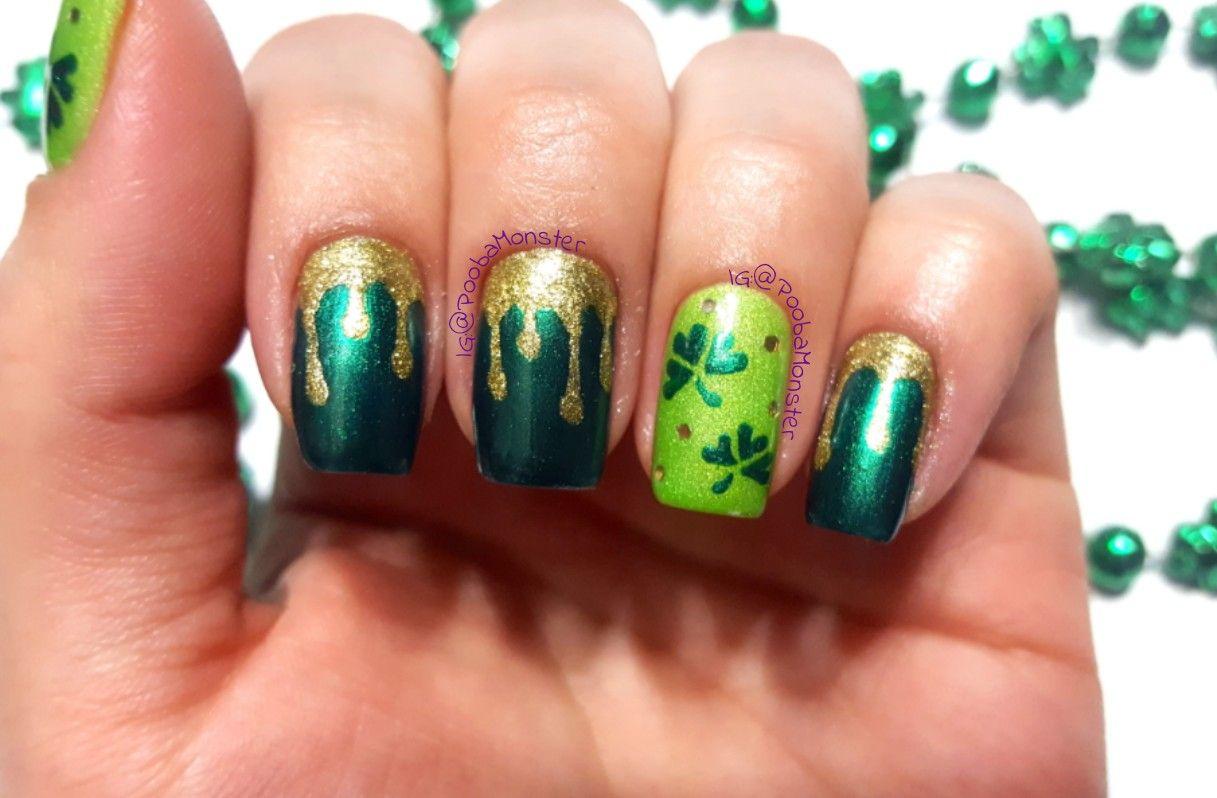 St.Patrick\'s Day shamrock, dripping gold nail art design. | My Nail ...