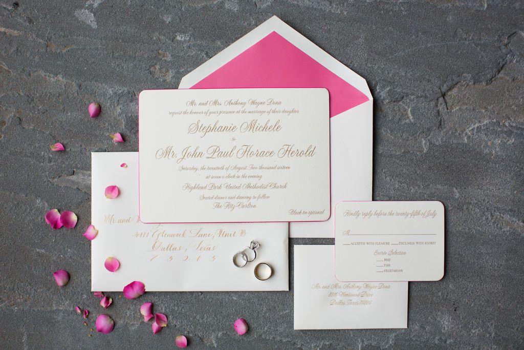 Fuchsia infused invitation suite Stephanie John