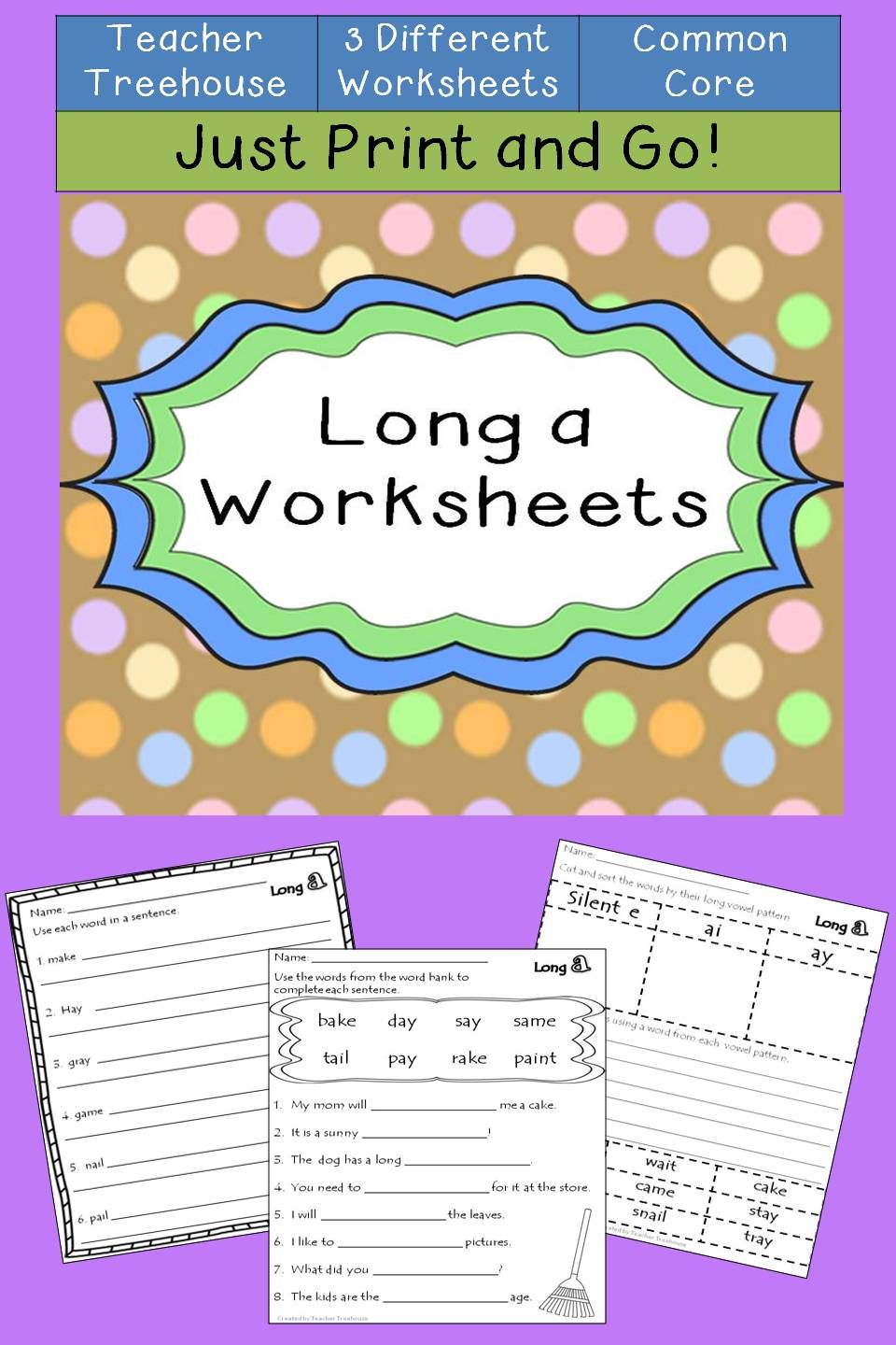 Long a Worksheets | Spelling patterns, Sentences and Worksheets