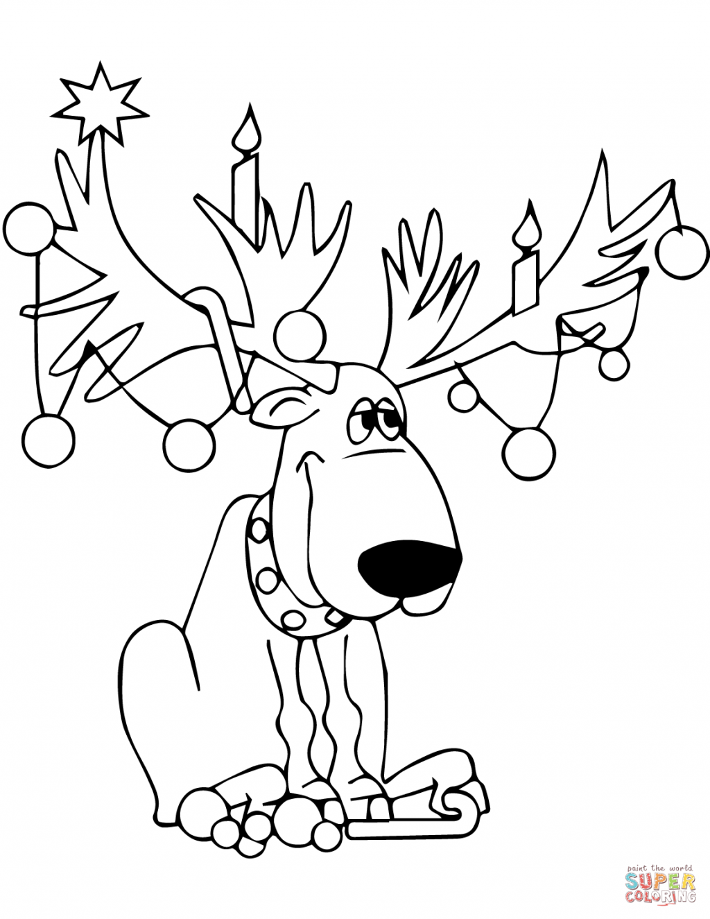 Christmas Coloring Pages Lights (With images) Deer