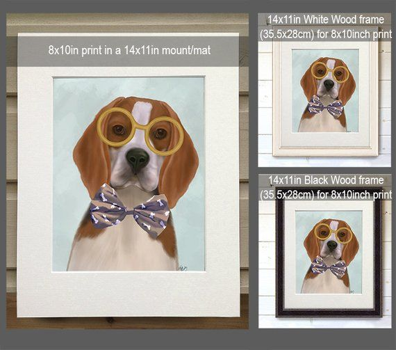 Funny Geekery Beagle Glasses And Bowtie Nerdy Room Decor Gift