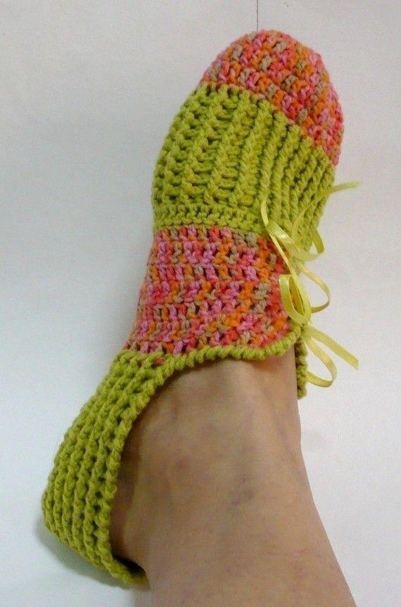 Excelente Patrón De Crochet Para Zapatillas Para Adultos Molde ...