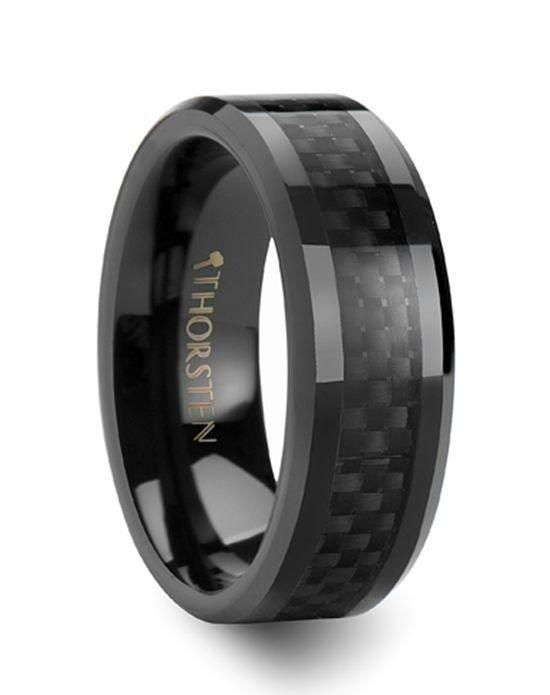 Onyx Black Carbon Fiber Inlaid Black Ceramic Wedding Band 4mm 12mm Ceramic Wedding Bands Black Tungsten Rings Mens Carbon Fiber Wedding Bands