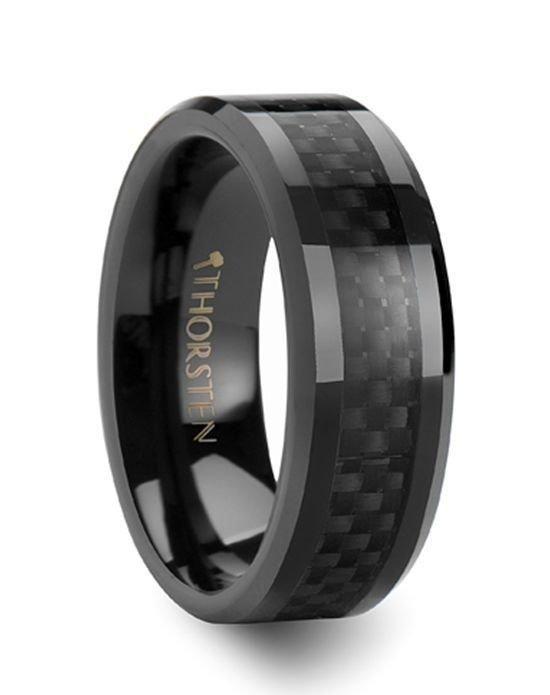 Larson Jewelers Onyx Black Carbon Fiber Inlaid Ceramic Wedding Band Ring The Knot