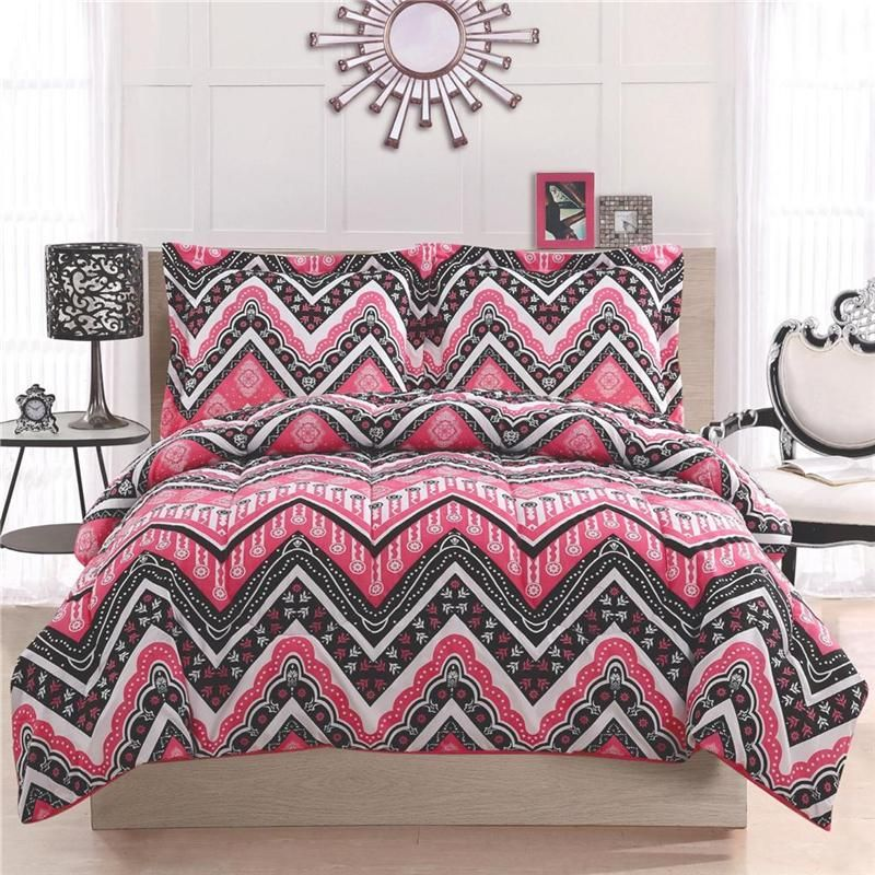 GIRL TEEN KID ZIGZAG CHEVRON BLACK WHITE PINK TWIN FULL QUEEN COMFORTER BED  SET