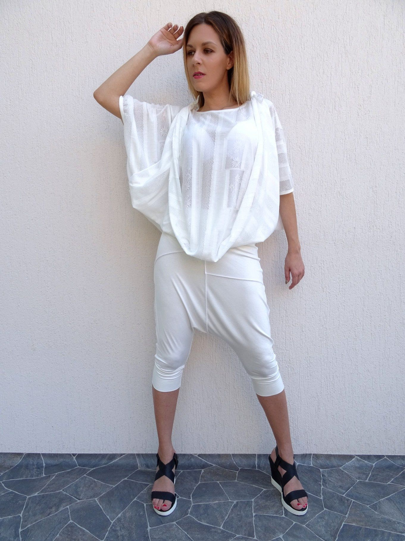 18fd391574862 Drop Crotch Pants Harem Pants Womens Pants White Pants Short Pants ...