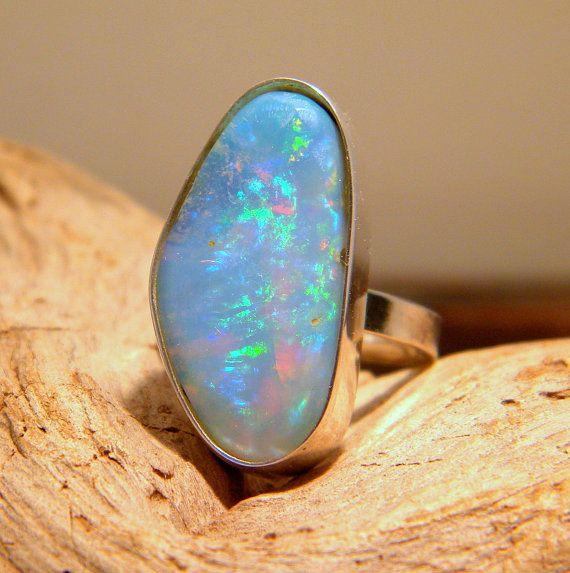 Sterling Silver Opal Ring Silver Ring Opal Stone Rough Opal Birthstone Gem Stone Raw Opal Sterling Silver Opal Ring Silver Opal Ring Opal Jewelry