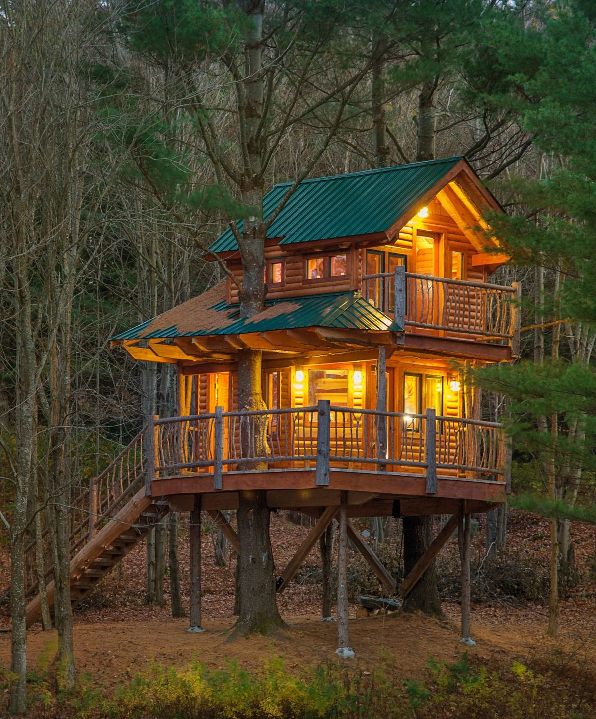 A treehouse in Waterbury, Vermont, complete with Wi-Fi and a coffee machine to boot.