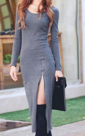 Grey Round Neck Long Sleeve Split Slim Dress - Sheinside.com