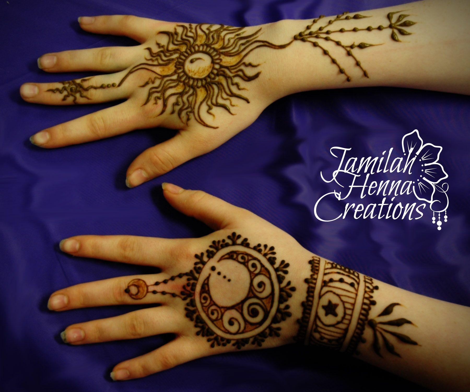 sun and moon henna www.JamilahHennaCreations.com | Hand ...
