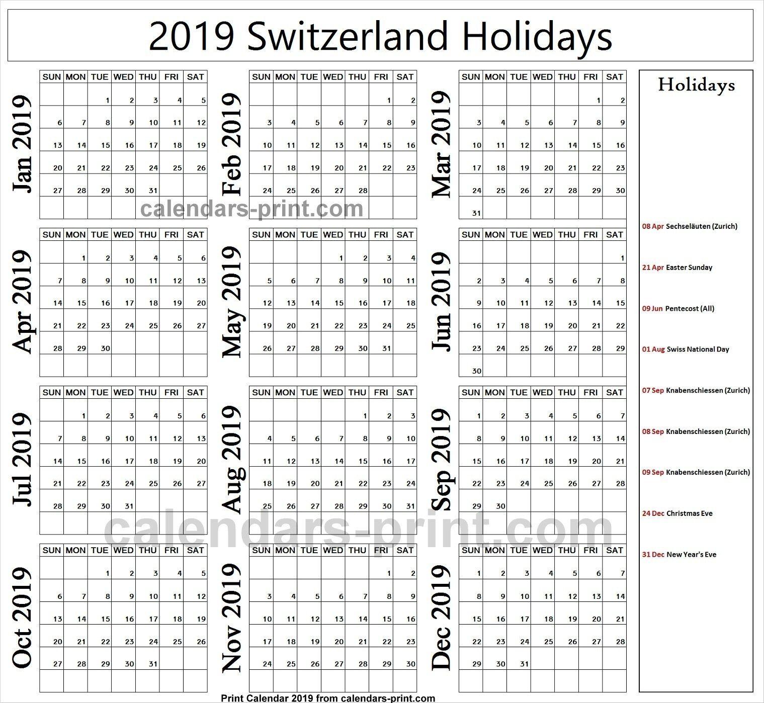 Holiday Calendar Zurich 2019 Holiday Calendar Holiday Calendar Printable Year Calendar Planner