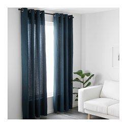 IKEA - MARIAM, Gardiner, 2 stk., , Gardinerne dæmper lyset og gi'r privatliv, fordi man ikke kan se direkte ind i rummet udefra.Banen med ringe gør det muligt at hænge gardinerne direkte på en gardinstang.